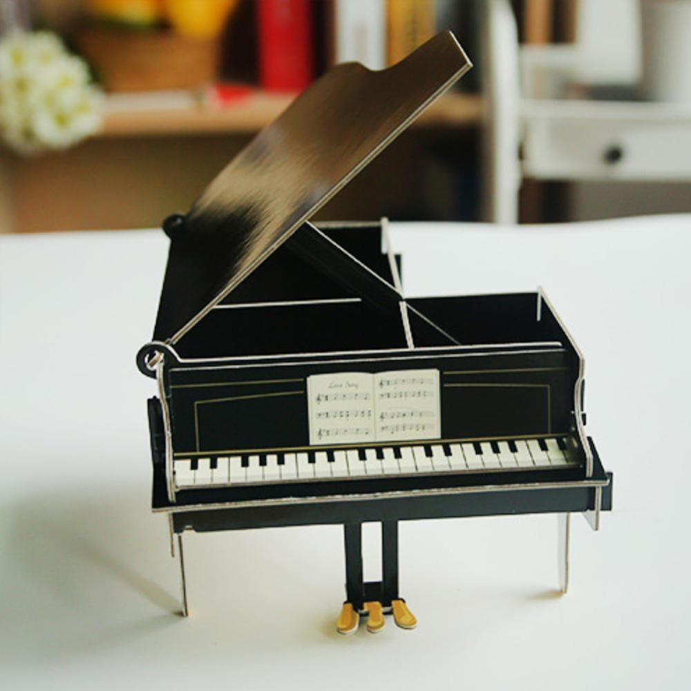 Lovely Wooden Cute Students Big Ben Piano Red Bus Multi-functional Storage Manual Assembly Pen Holder Bracket Office Supplies