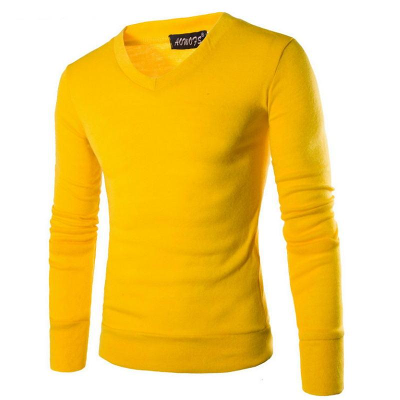 2019 New Cotton Sweater Men Long Sleeve Pullover  Outwear Man V-Neck Sweaters Tops Slim Solid Fit Knitting Clothing 7 Colors