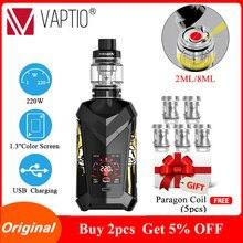 Original Vaptio SUPER CAPE 220W vape Kit with 2/8ml Atomizer & 1.3inch Color TFT screen  Cool UI vaporizer E-cigarette Kits