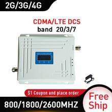 الفرقة 20/3/7 ثلاثي الفرقة 800/1800/2600MHZ إشارة الداعم GSM DCS LTE 4G موبايل مكرر إشارة هاتف محمول الخلوية مكبر للصوت الفرقة 5
