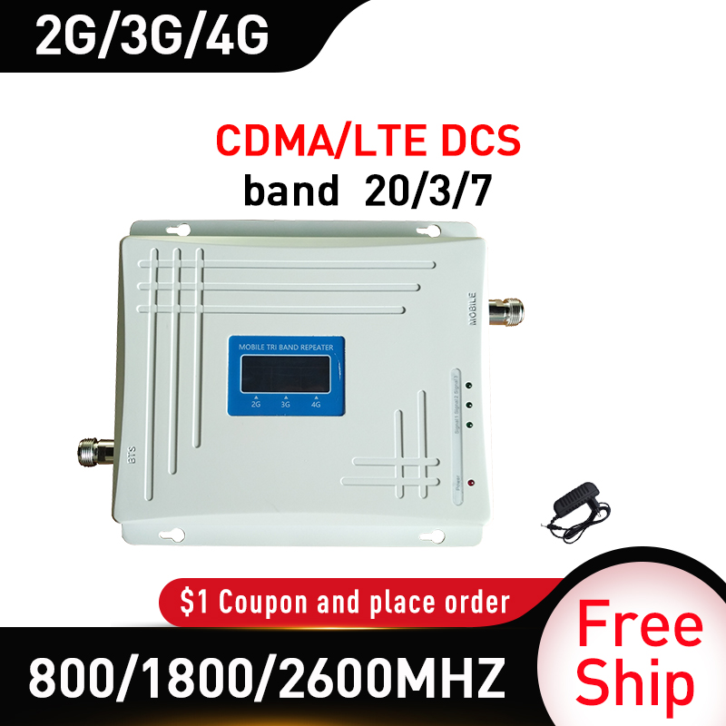 band 20/3/7 Tri-Band 800/1800/2600MHZ Signal Booster GSM DCS LTE 4G Mobile Signal Repeater Cell Phone Cellular Amplifier band 5