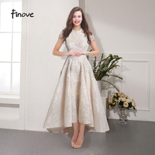 Finove Champagne Lace Prom Dresses 2020 robe de soiree High Neck Short Sleeve Luxury Beading Appliques Formal Party Dress Gowns