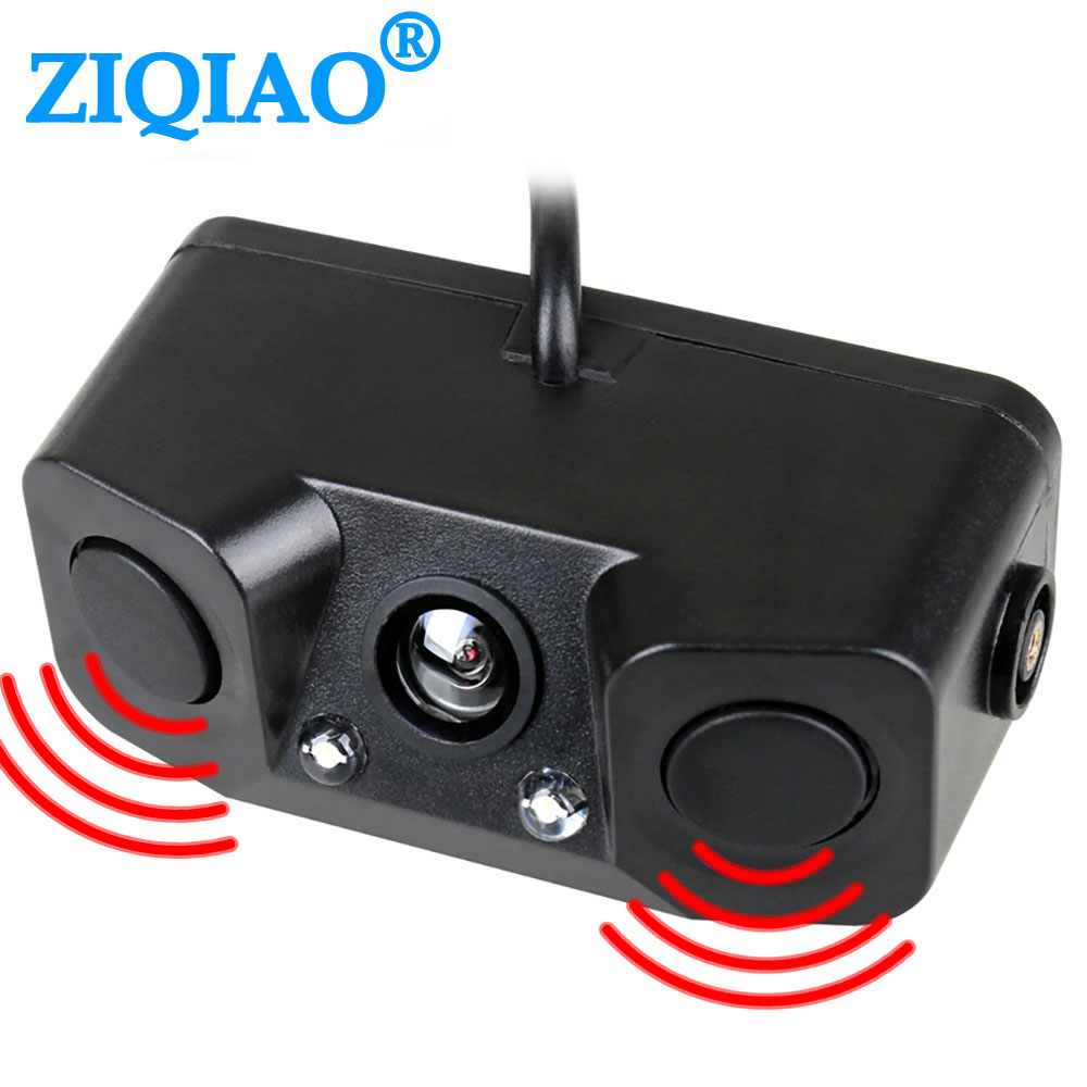 ZIQIAO Car Rear View Camera 3In1 Dual Sensor Radar Sound Alarm Reversing Standby Camera Universal Backup Parking Camera HS042