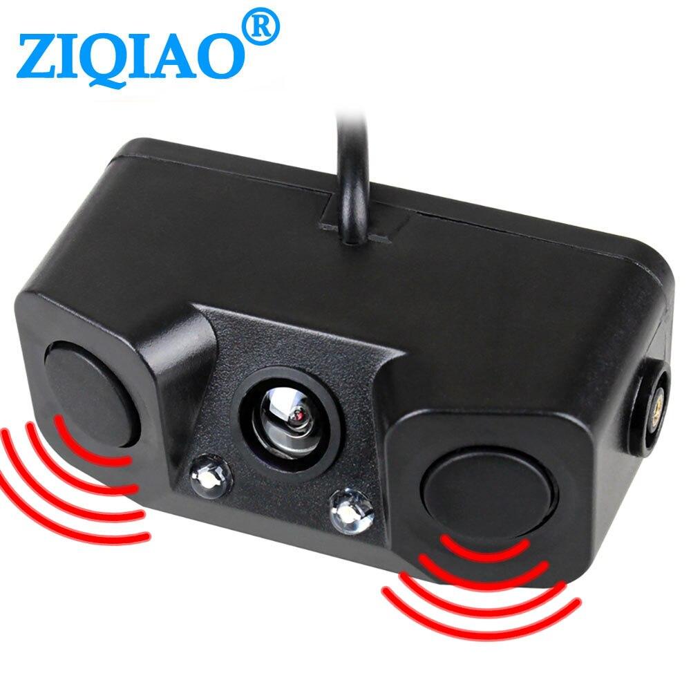 ZIQIAO cámara de visión trasera del coche 3 en 1 Sensor doble Radar alarma de sonido cámara de marcha atrás en espera cámara de aparcamiento de respaldo Universal HS042