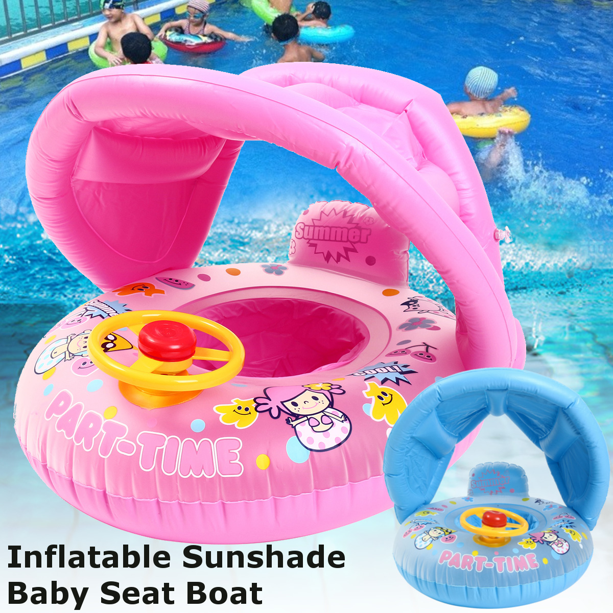 Safe Inflatable Baby Swimming Ring Pool PVC Infant Swimming Float Adjustable Sunshade Seat Swimming Pool For Baby Kids