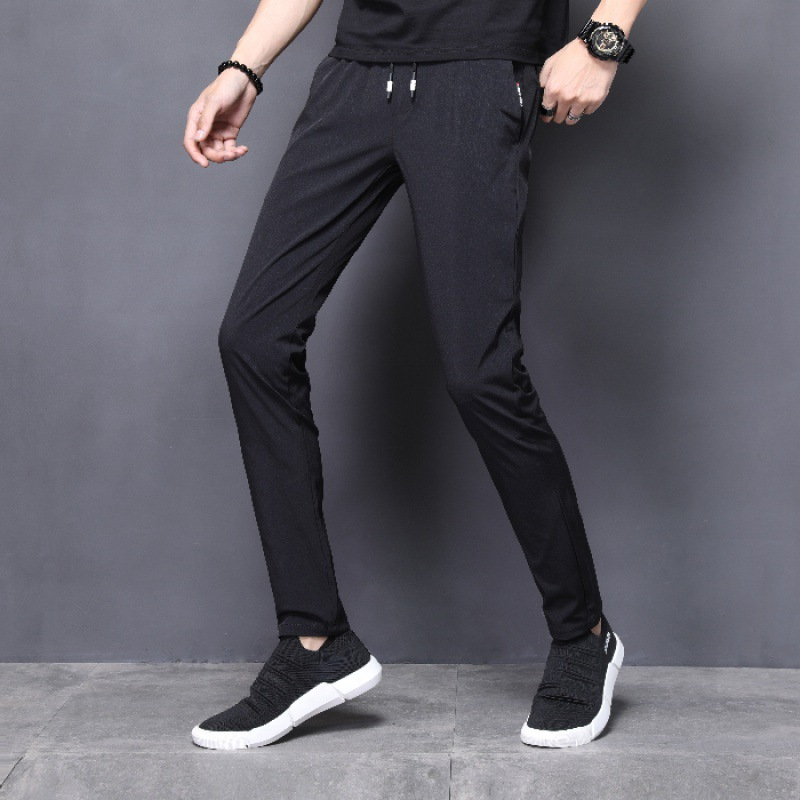 Summer Athletic Pants Men's Thin Large Size Casual Breathable Ultra-Thin Trousers Viscose Men's Trousers Elastic Waist Skinny Pa