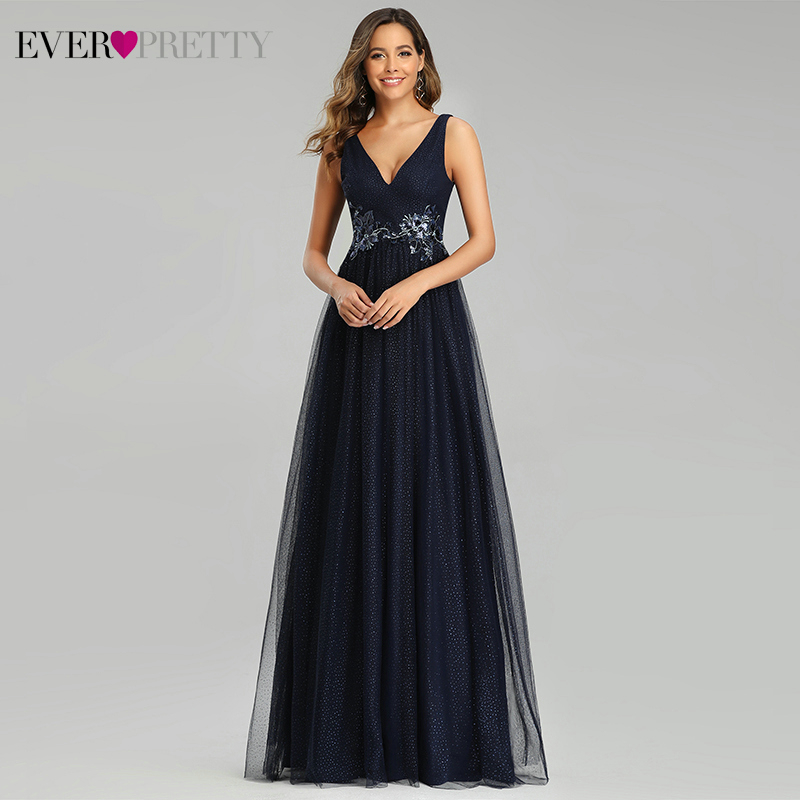 Sparkle Navy Blue Evening Dresses Ever Pretty Appliques Deep V-Neck A-Line Sleeveless Tulle Long Party Gowns Robe De Soiree 2020
