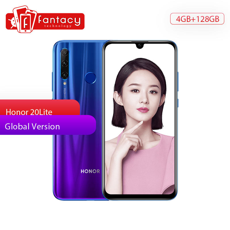 Global Version <font><b>Honor</b></font> 20 Lite 4G 128G <font><b>Smartphone</b></font> Android 6.2 Inch Full Screen 32MP Selfie Shooting Facial Fingerprint Recognition image