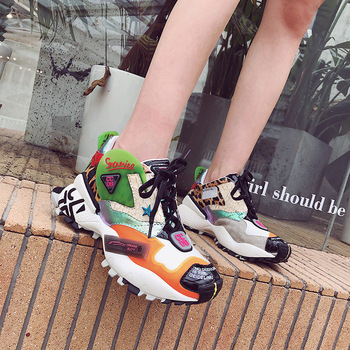 2019 New Casual Women's Shoes Fish Pattern Genuine Leather Platform Graffiti Color Matching Lace Autumn Fashion Sports Shoes