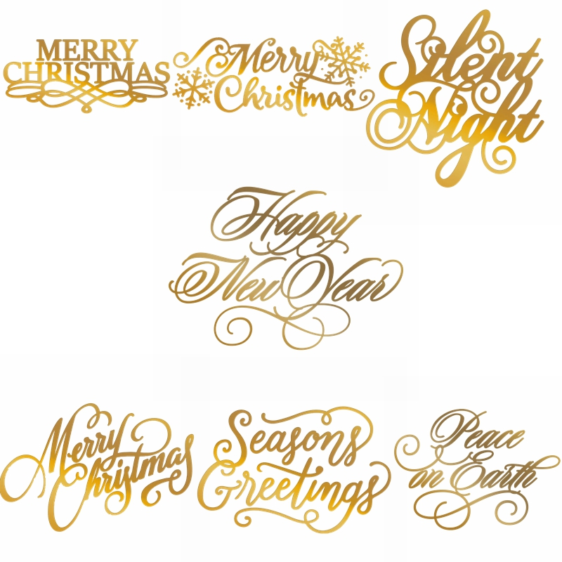 Merry Christmas Happy New Year Sentences Metal Cutting Dies Hot Foil Plates Scrapbooking Craft Embossing Cards New Die Cut 2019