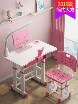 Kunststoff Kinder Tisch und Stuhl Set kinder Schreibtisch Schüler der Schreibtisch Kinder Möbel Kinder Hause Holz Klappstühle mit Lampe