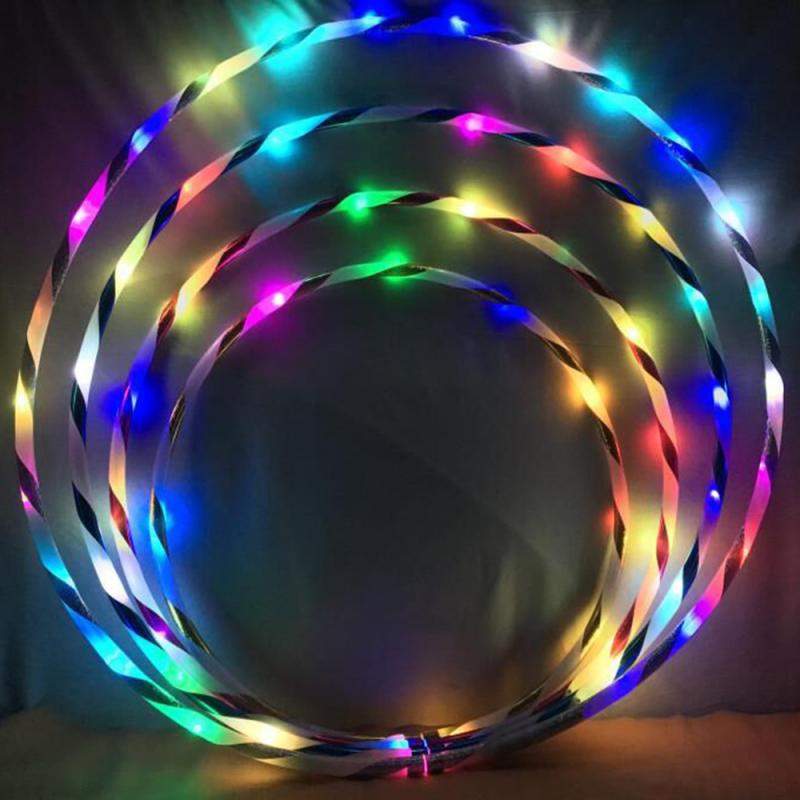 LED Colorful Fitness Performing Arts Abdominal Fat Loss Light Fitness Foldable Sport Hoop Gym Fitness Equipments Rechargeable