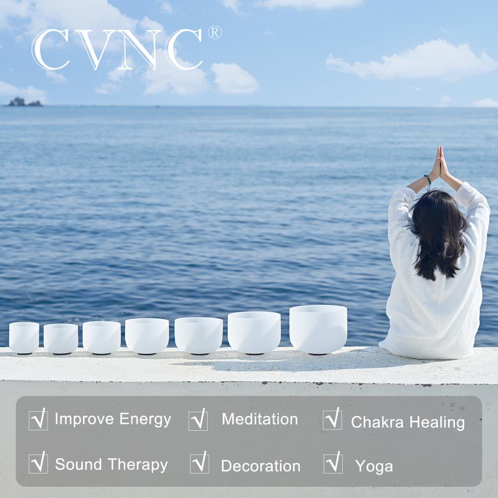 "Купить с кэшбэком CVNC  6""-12"" Chakra Set of 7PCS Note CDEFGAB  440Hz or 432Hz  Frosted Quartz Crystal Singing Bowls with free 7pcs Cushion Pad"