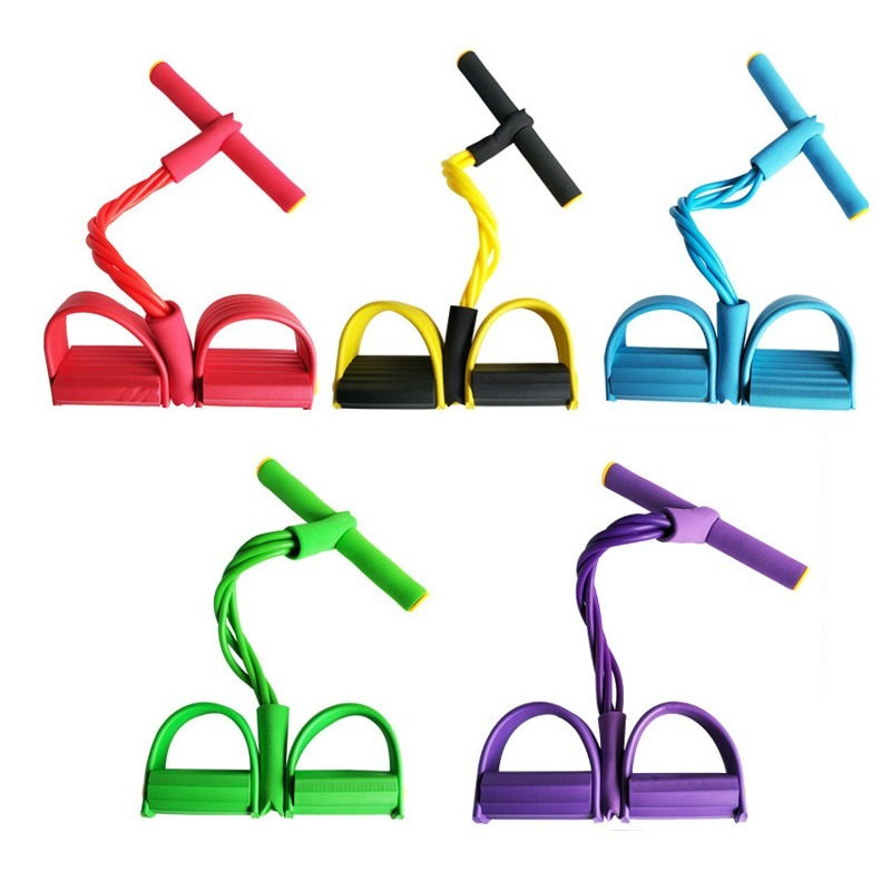 4 Tube Fitness Elastic Sit Up Pull Rope Abdominal Exerciser Home Gym Sport Equipment Pull Rope Pedal Ankle Puller Indoor 1
