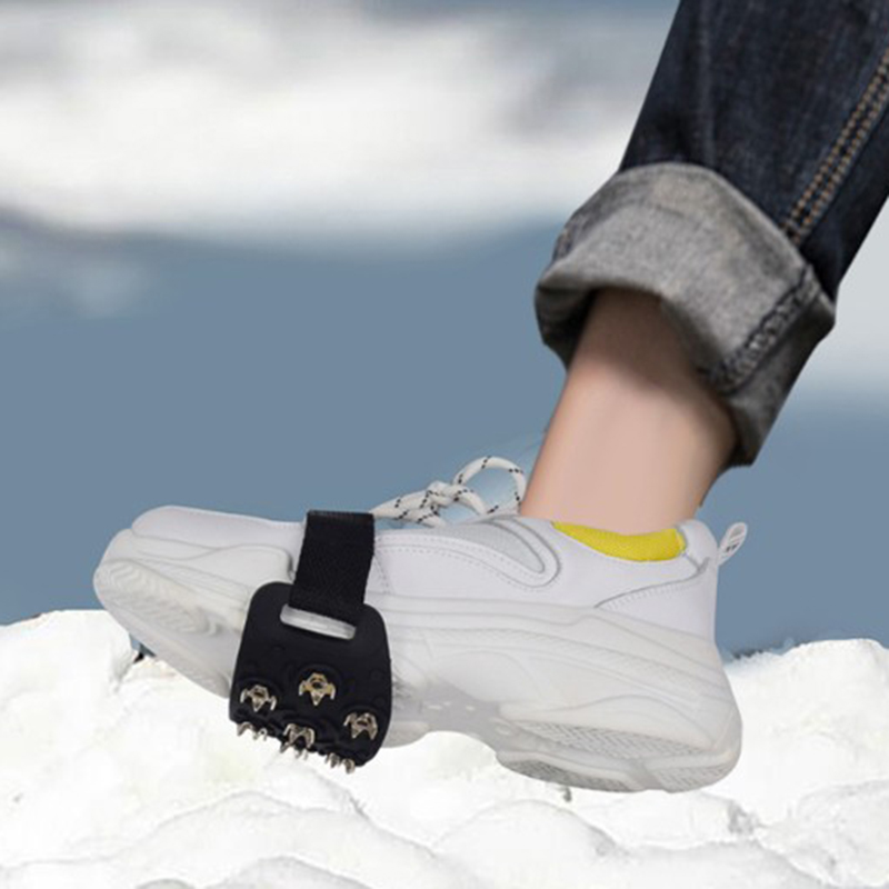 Hot Sale 7 Tooth Alloy Anti-ice On Shoes Winter Snow Hiking Anti Slip Unisex Silicone Shoe Spikes New Ice Drifts Against Sliding