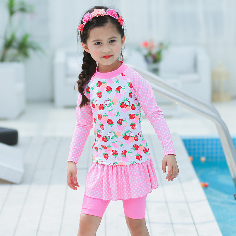 2020 KID'S Swimwear Big Boy Pink Cao Mei Qun-Cute GIRL'S Split Type Long Sleeve Sun-resistant Surf Wear Swimwear