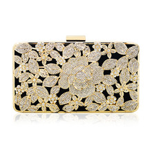 women black velvet box clutch bag gold metal frame evening glitter customized logo rhinestone private label crystal wedding(China)