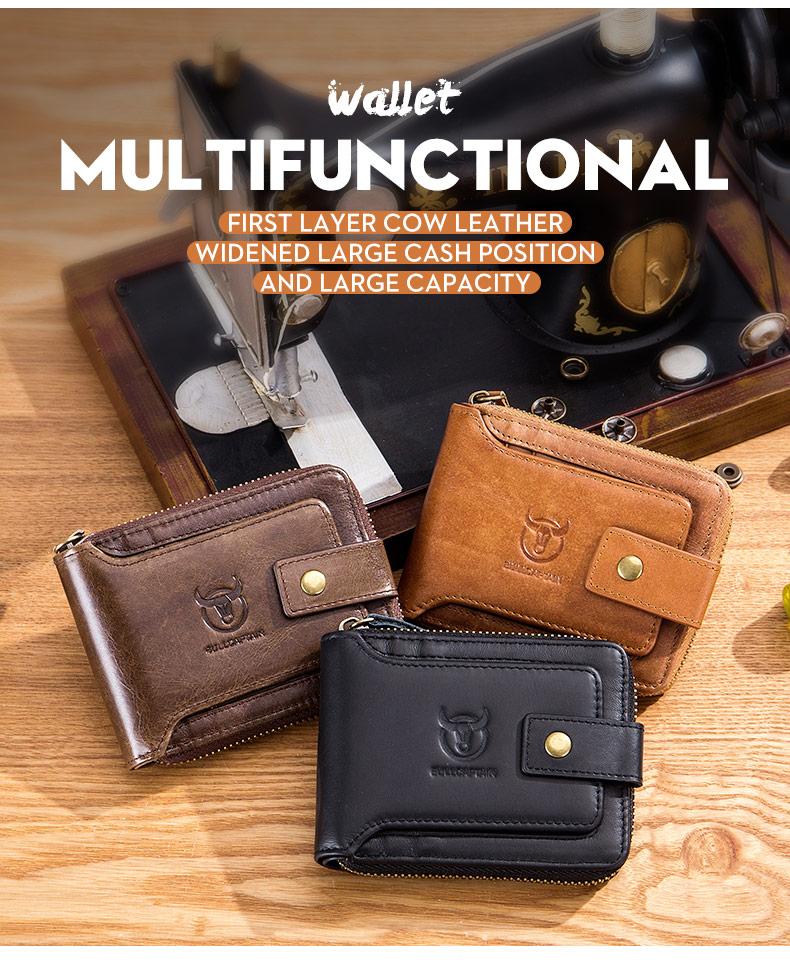 BULLCAPTAIN men's purse leather purse male purse RFID card holder wallet Storage bag coin purse Zipper wallet