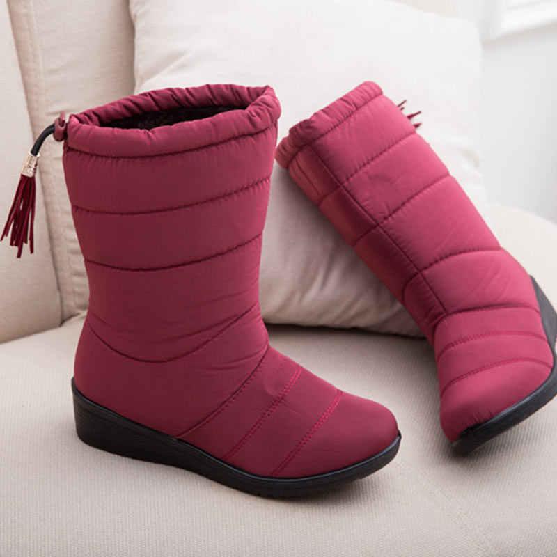 Kış çizmeler kadın ayak bileği kar botları püsküllü botlar kadın yüksek su geçirmez bayan ayakkabıları peluş astarı Bota Feminina