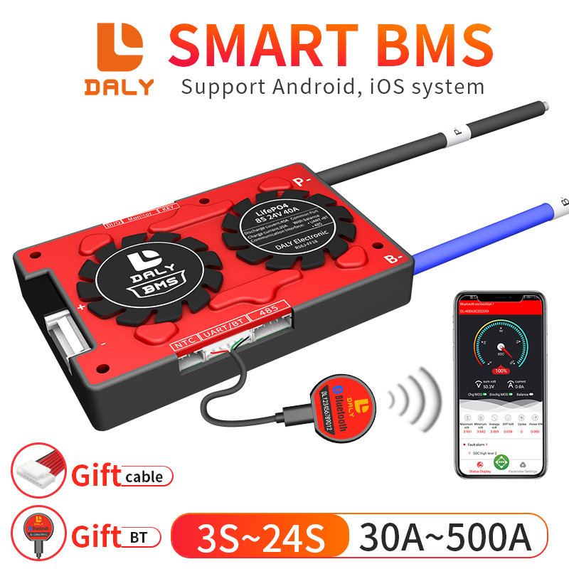 Daly Smart BMS 3S-24S Lifepo4 li-ion Lipo LTO tablica zabezpieczająca baterię bezpłatna aplikacja Bluetooth RS485 4S 8S 12S 16S 20S balans