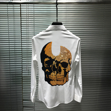 Men's Shirt Long-Sleeve Street Golden Slim Brand Skull-Drill Hip-Hop Hot-Sale Super-Shiny