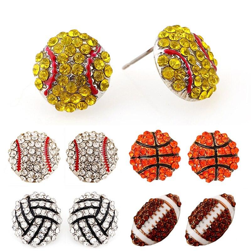Sale 1 Pair Pave Crystal Baseball Softball Team Sports Stud Earrings Football Studs Ear Jewelry