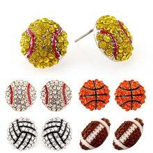 Sale 1 Pair Pave Crystal Baseball Softball Team Sports Stud Earrings Football Studs Ear Jewelry цена