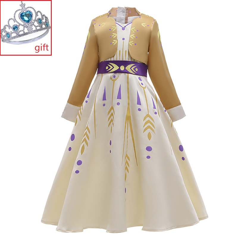 Buyers recommend best-selling children's clothing 2019 latest style cosplay princess Anna dress girls party printing dresses image