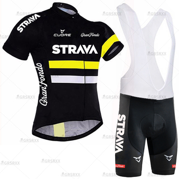 STRAVA Cycling Jersey Men Set Bib Shorts Set Summer Mountain Bike Bicycle Suit Anti-UV Bicycle Team Racing Uniform Clothes 15