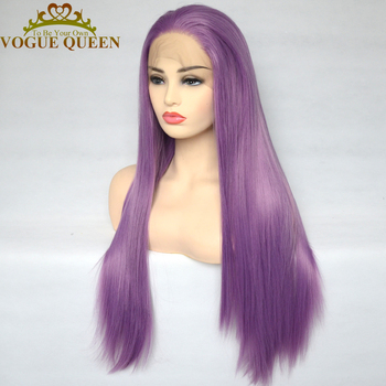 Vogue Queen Lilac Purple Synthetic Lace Front Wig High Temperature Fiber Cosplay  For Women - discount item  21% OFF Synthetic Hair