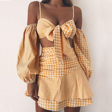 2019 Chiffon sexy paid skirt sets new sexy long sleeve front tie summer spring two piece set women plaid skirt недорого