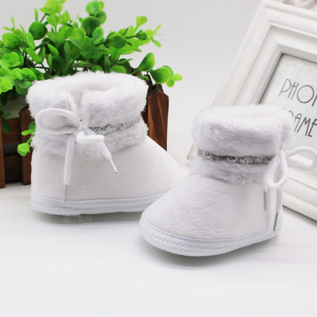 Newborn Baby Girls Cashmere Plush Patchwork Winter Boots Infant Girl Bandage Fashion Warm Shoes Toddler Girls Cute Snow Boots