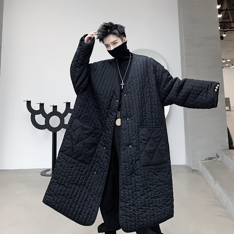 Men Japan Streetwear Include Scarf Thin Cotton Padded Long Coat Outerwear Male Casual Loose Parkas Jacket Overcoat