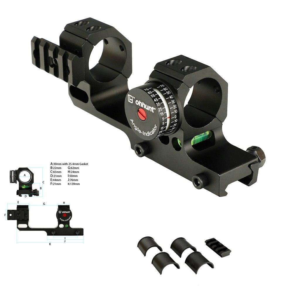 Ohhunt 25.4mm 30mm décalé bidirectionnel Picatinny tisserand anneaux portée de montage avec Rail latéral Angle Cosine indicateur Kit et Bubb niveau