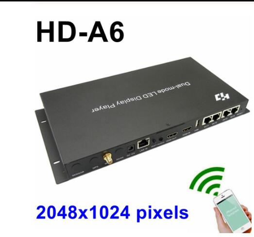 HD-A6 dual mode USB+ wifi Full Color asynchronous led screen player 2048x1024pixels sync seinding card wifi video led controller