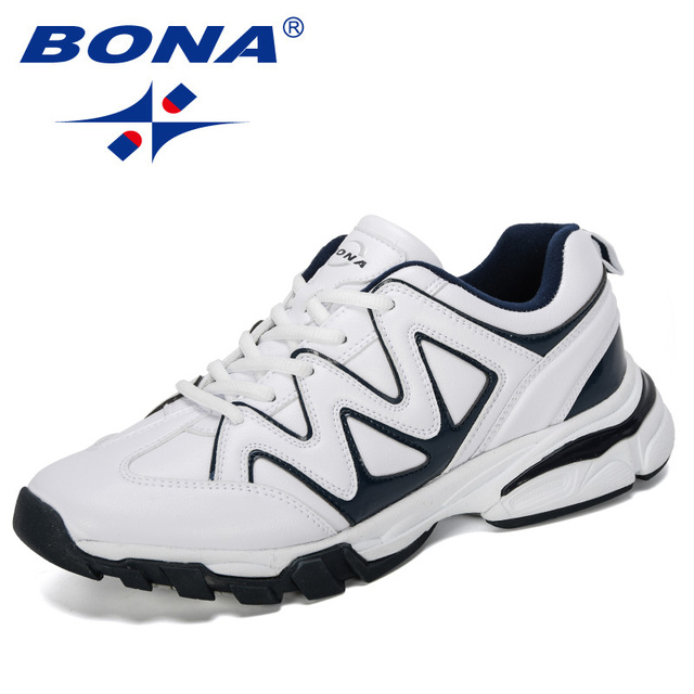 BONA 2019 New Designers Leather Running Shoes Men Outdoor Sneaker Shoes Casual Breathable Shoes Jogging Tennis Shoes Man Trendy