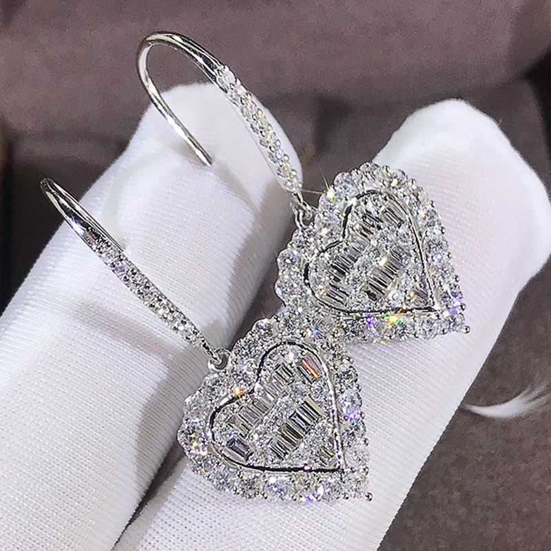 Huitan Cubic Zirconia Heat Shape Women Drop Earrings Wedding Engagement Jewelry Shine Girl Fashion Earrings Hot DropShipping