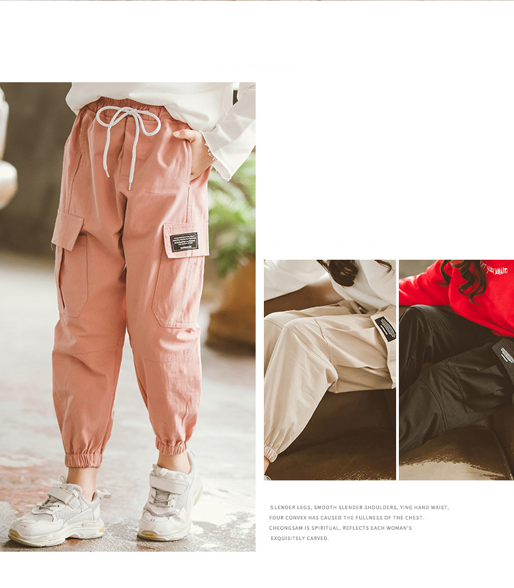 Fashion Girls Cargo Pants 2020 Kids Clothes Girls 8 To 12 Spring Children Loose Trousers Cotton Solid Color Pocket Pants 3-12Yrs