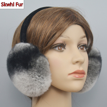 Winter Warm Women 100% Natural Real Rex Rabbit Fur Earmuffs Winter Fashion Girl Rex Rabbit Fur Earmuff Russian Plush Fur Earflap