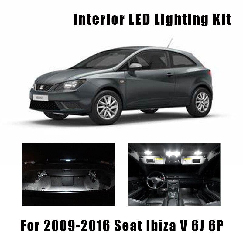 9pcs White Canbus LED License Plate Lamp Interior Map Dome Lights Kit For 2009-2016 Seat Ibiza V MK5 6J 6P Reading Ceiling Bulbs