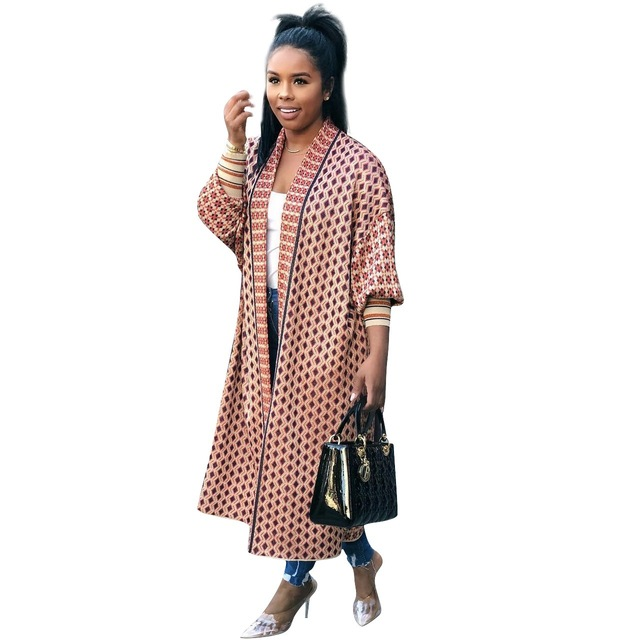 Leopard Printed Long Trench Coats Long Sleeves V Neck  Mid Calf Lady 5
