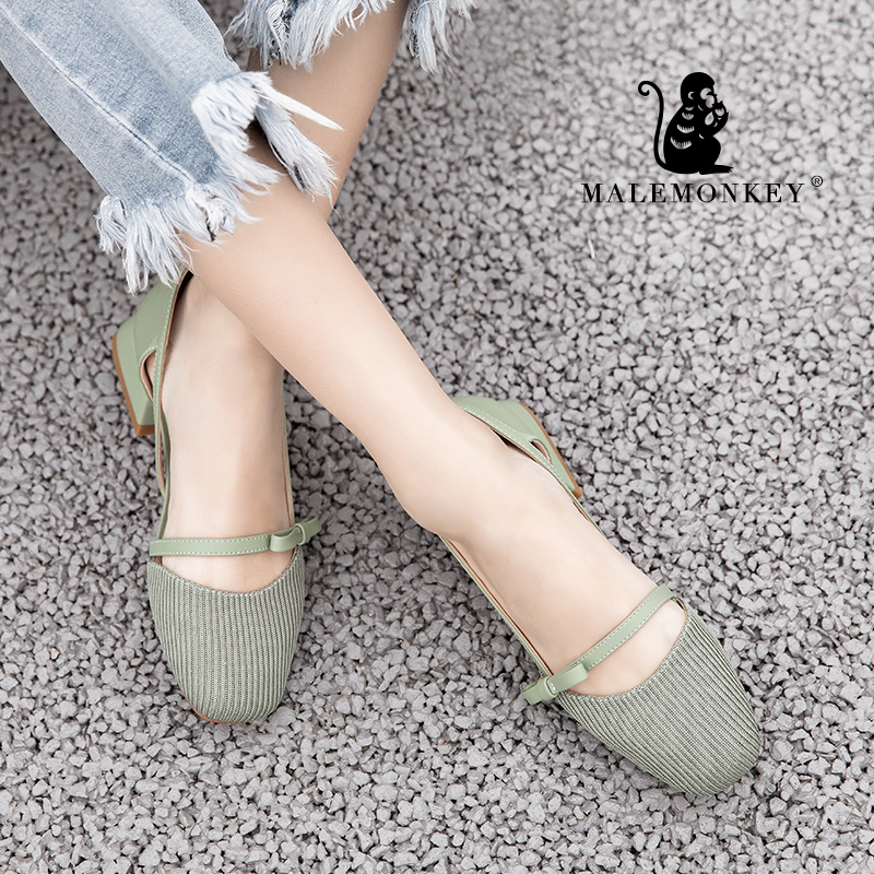 MALEMONKEY 012840 Ladies New Shoes 2020 New Spring Summer Fashion Pumps Thick Heel Women Square Heel Comfortable Women's Shoes