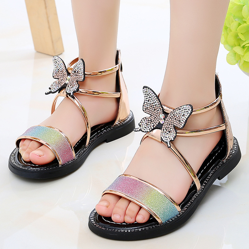 Summer New Girl\\'S Sandals Princess Shoes Fashion Children Butterfly Roman Shoes Girls Toddler Flat Sandals Pink Gold