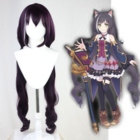 Princess Connect Re Black Cat Kyaru Cosplay Dark Purple Long Synthetic Heat Resistant Hair for Women Cosplay