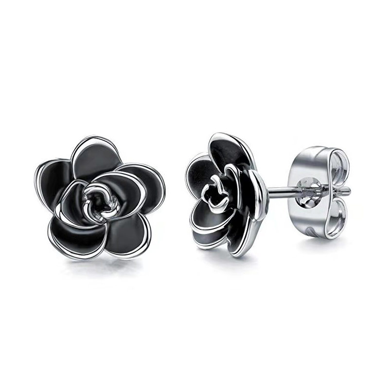 Huian Classic Camellia Flower Stud Earring Delicate Women Accessory Daily Wearing Party Earring with White/Black Flower Jewelry