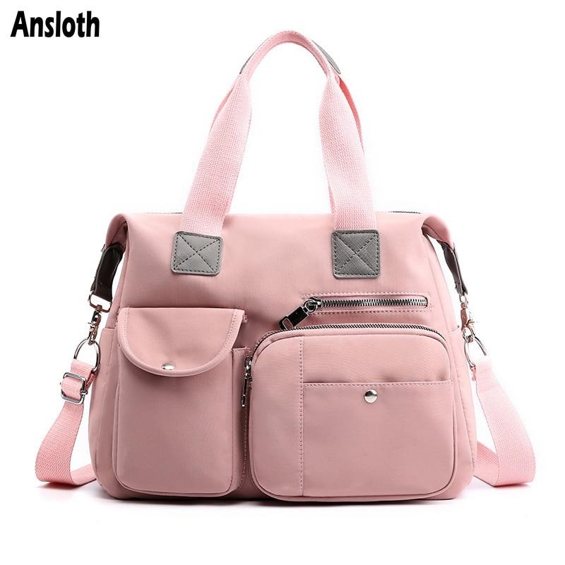 Ansloth Waterproof Nylon Travel Bag For Women Bag Solid Color Travel Handbag Lady Big Shoulder Bag Female Travel Duffels HPS809