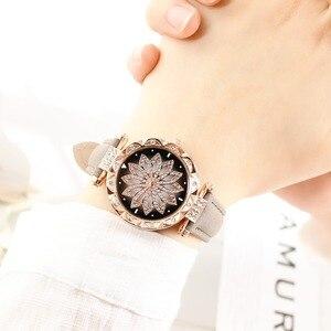 Image 4 - נשים כוכבים בשמי שעון יוקרה רוז זהב יהלומים שעונים גבירותיי מקרית רצועת עור קוורץ שעוני יד נקבה שעון zegarek damski
