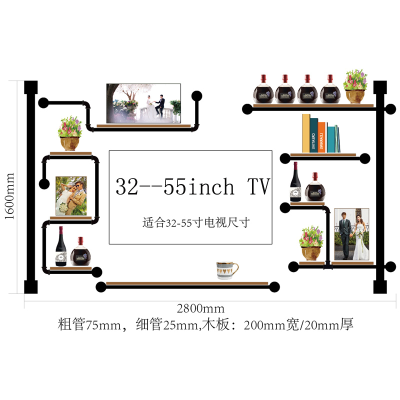 Antique Design Wine Rack Made Of Pine Wood And Iron Pipe\\Audio Shelf Rack Home Media Component Shelf Rack TV Cabinet CF