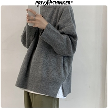 Privathinker 2019 Autumn Winter Korean Sweater Men Pullover Tops Casual Male Knitted Solid Streetwear Mens Thicken