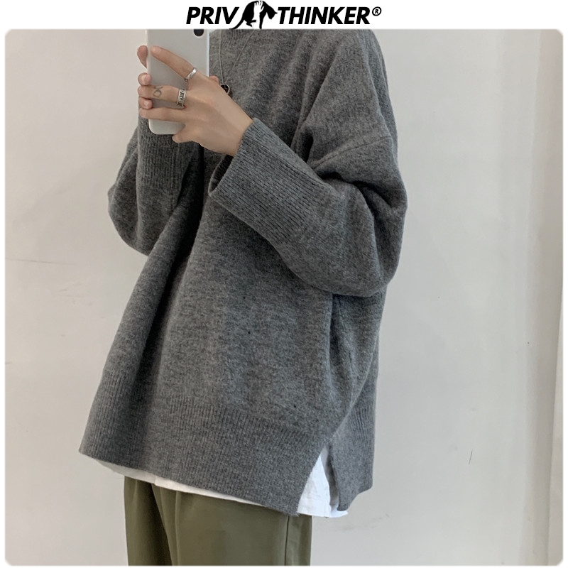 Privathinker 2020 Autumn Winter Korean Sweater Men Pullover Tops Casual Male Knitted Solid Streetwear Mens Thicken Warm Sweater